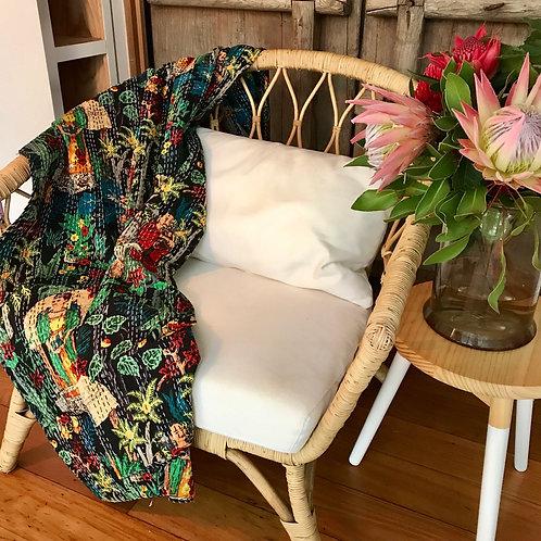Exotic Handstitched Frida Kahlo Jungle Print Tagai Throw  Quilt 225cm x 150cm