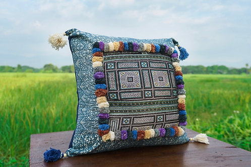 Handmade Bohemian Pom Pom Cushion Cover with Vintage Panel