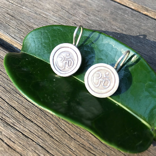 Om Earrings - Sterling Silver