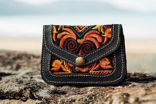 Earth Tones Leather & Embroidered Coin Purse