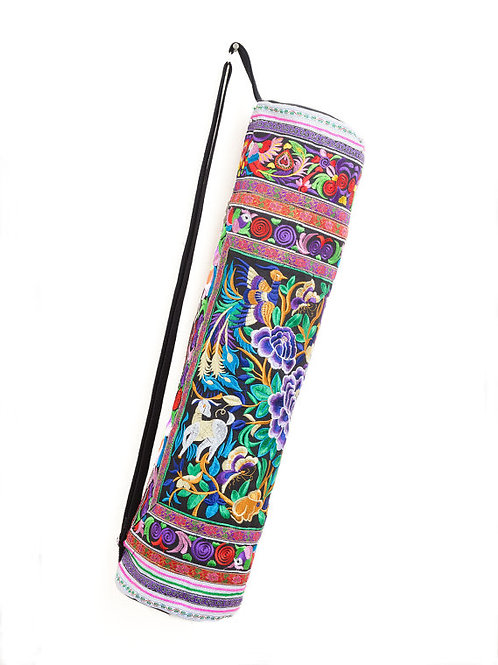 Handcrafted Yoga Mat Bag with Garden Hmong Embroidery