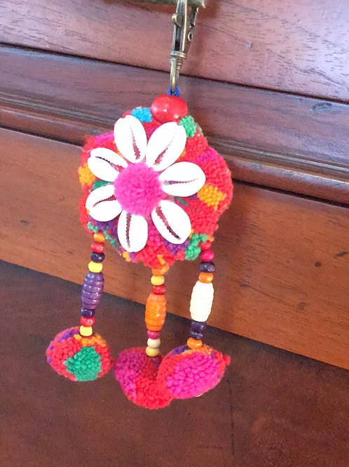 Flower Shell Hmong Tribal Keychain Cotton Pompoms Tassels Decorative Piece