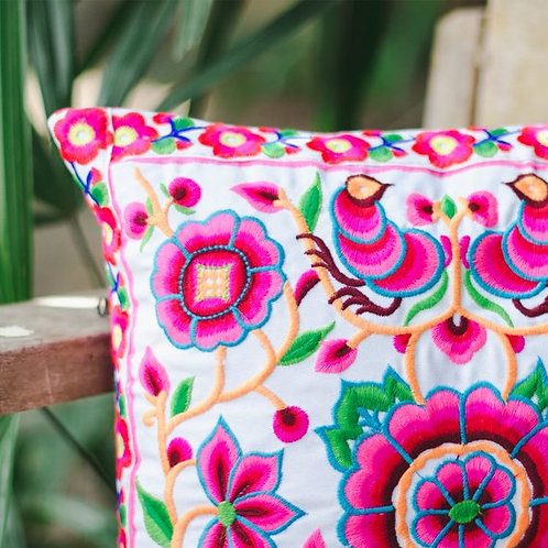 Flower Garden Cushion Cover with Hmong Embroidered