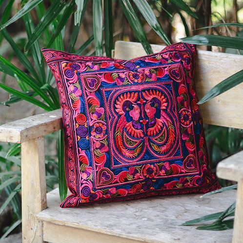 Bird Embroidery Balance Cushion Cover with Hmong Artisans