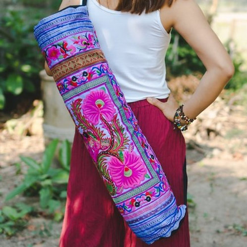 Handcrafted Yoga Mat Bag with Flower Hmong Embroidery - Purple