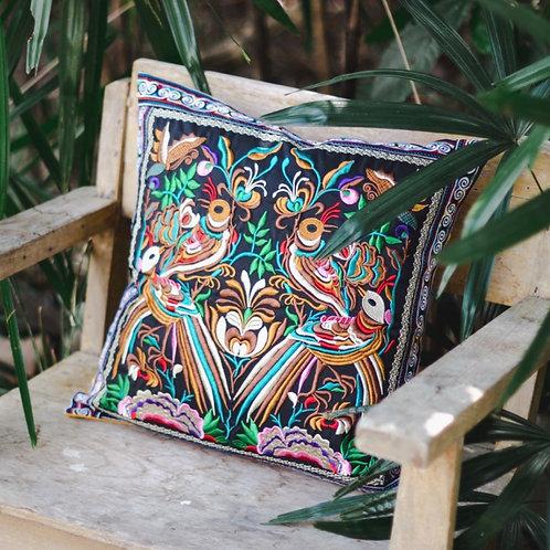 4 Birds Hill Tribe Hmong Embroidered Fair Trade Cushion Cover 40cm x 40cm