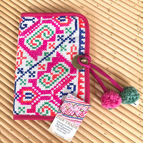 Handmade Beautiful Passport cover with pom, bell & shell detail