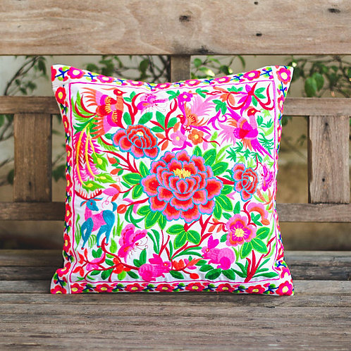 Garden Pillow Cover with Hill Tribe Embroidery