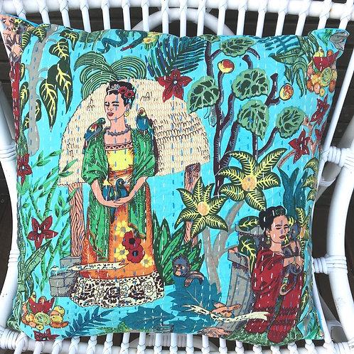 Frida Kahlo Handstitched Kantha Detail Cushion 45cm x 45cm