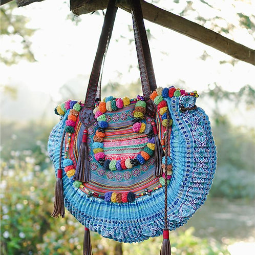 Vintage Detail Goddess Bag with Leather, Hmong Embroidered