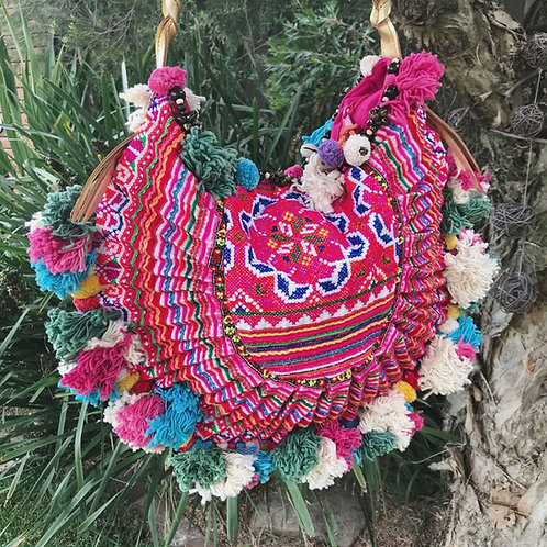 Bohemian Colourful Pom Pom Bag