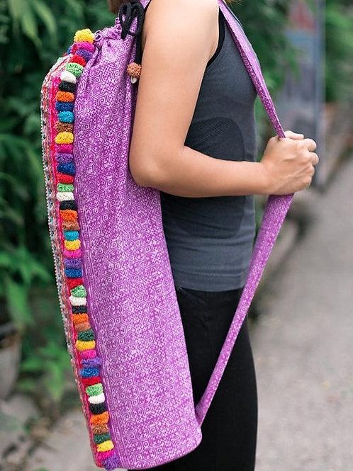 Handcrafted Batik Yoga Mat Bag with Colorful Pom Pom