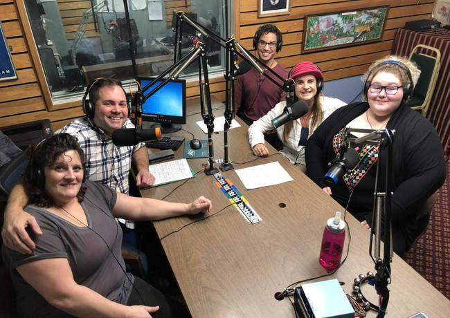 (Clockwise) Wendy Lawson, Donald Sheehan, Michelangelo Barone, Julie Butler and Jill M. Sweet promoting the show on 95.9 WATD.
