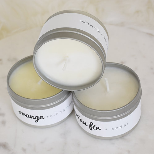 Soy Candle Tin // Clean Burning // 100% Soy // Cotton Wick // Apx. 25 Hr. Burn T