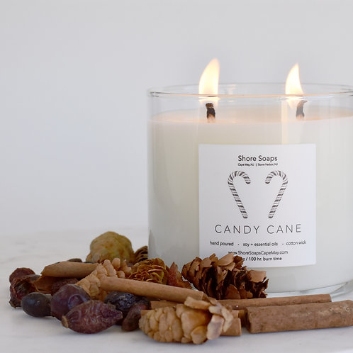 CANDY CANE Soy Candle // Vanilla Peppermint // 16oz - 100 hour Burn Time