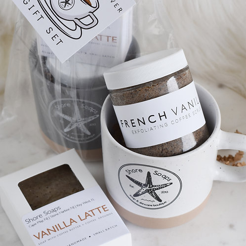 COFFEE Lover Gift Set // French Vanilla Coffee Scrub // Vanilla Latte Bar Soap /