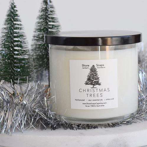 CHRISTMAS TREES Soy Candle // Siberian Fir Cedar Wood // 16oz - 100 hour Burn Ti