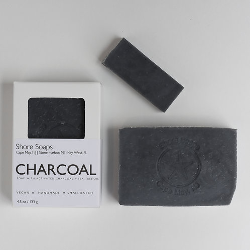CHARCOAL Acne Soap // Vegan // Peppermint Tea Tree Oil // Activated Charcoal //