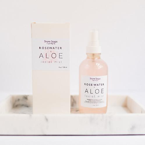 ROSE WATER + ALOE  Facial Mist // Balancing Toner Moisturizer // Vitamin E // La