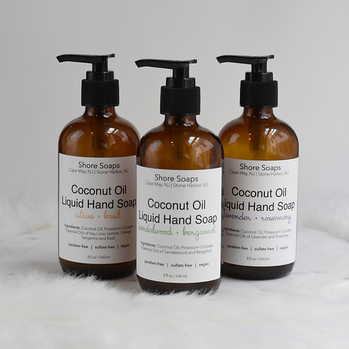 COCONUT OIL Liquid Hand Soap // Bath & Kitchen // Paraben Free // Sulfate Free /