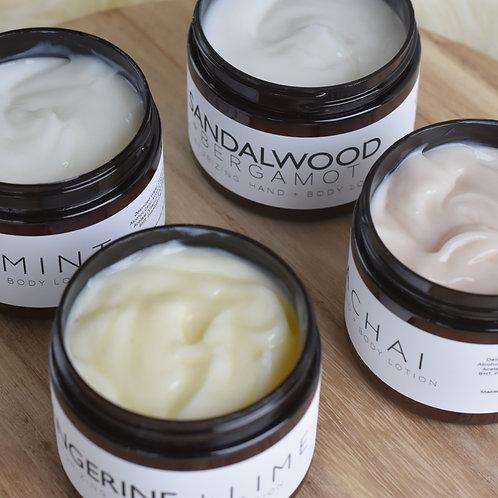 Hand + Body Lotion Moisturizer // 6oz Jar or 2oz Travel Jar // Essential Oils /
