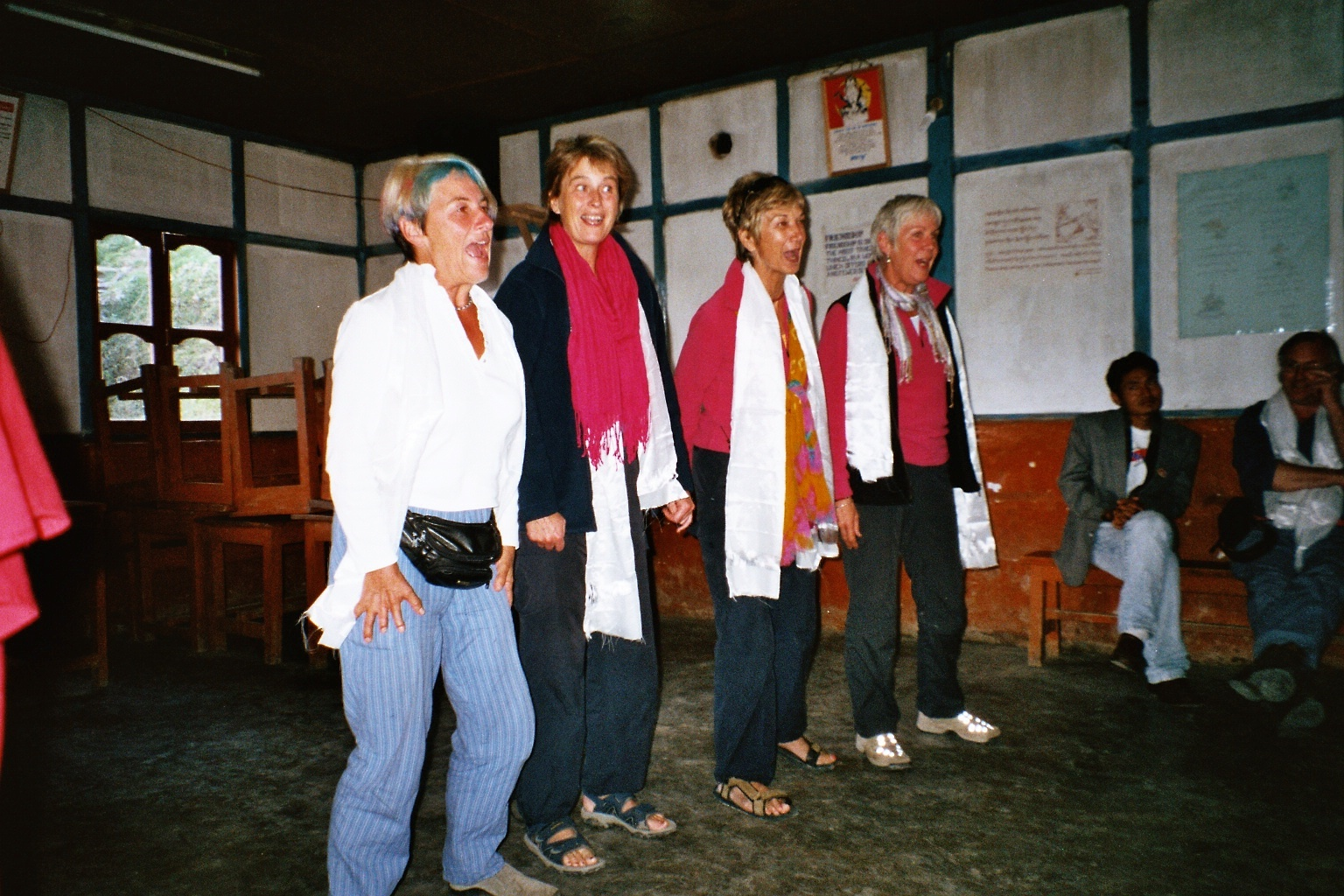First visit, singing for our hosts