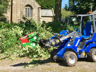 MultiOne with pallet forks, GP bucket, riddling drum, tree shear and grab attachments in St Ive