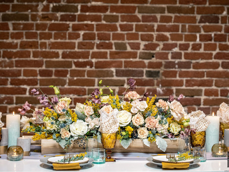 Fresh Spring Wedding Trend | Mustard Accents on Brick Backdrops