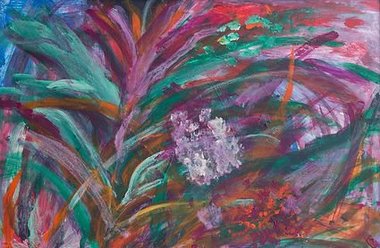 "Purple Garden Acrylic 16 x 20 "" $475 — at Austin Artspace."
