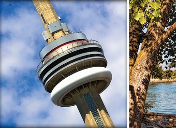 CN Tower - 1,815 ft. Concrete communication and observation tower in Downtown Toronto with adventurous walkers on the circumference of the roof, Toronto