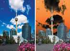 CN Tower from Queens Quay with added Gilbert touch