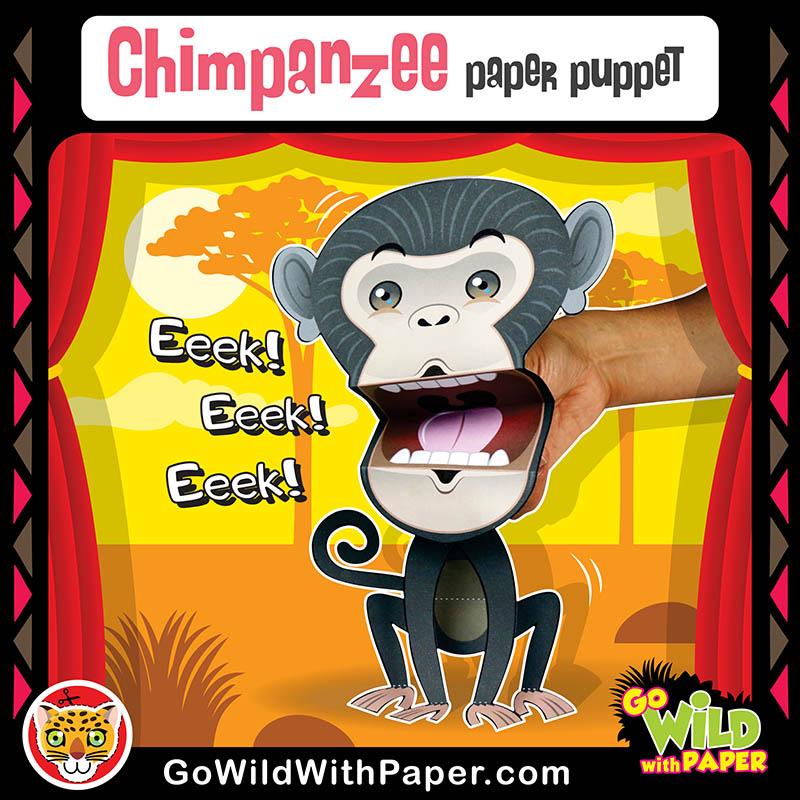 Printable Chimpanzee Puppet