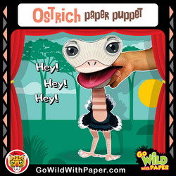 Printable Ostrich Puppet