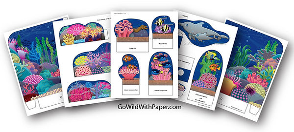 printable coral reef diorama pages