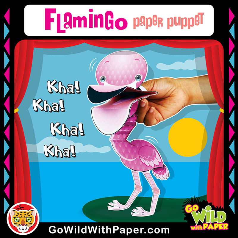 Printable Flamingo Puppet