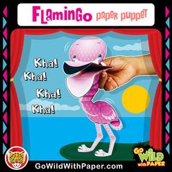 Printable Flamingo Puppet