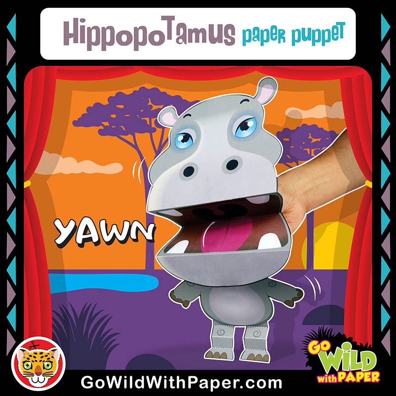 Printable Hippo Puppet