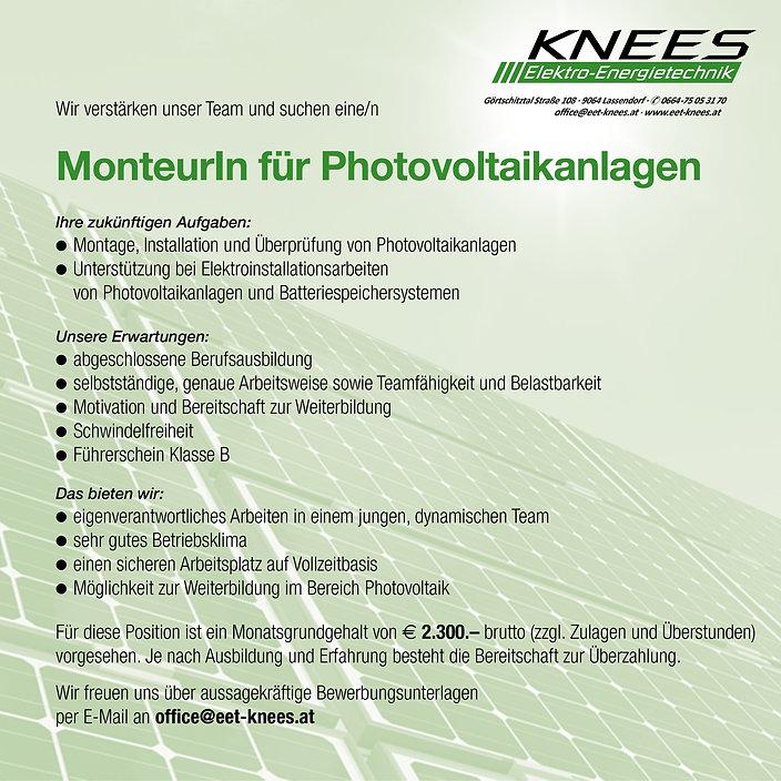 Inserat MonteurIn für Photovoltaikanlage