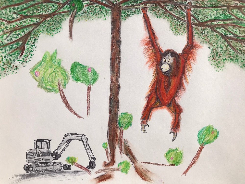Doodle of Orangutan in a tree with digger at it's feet