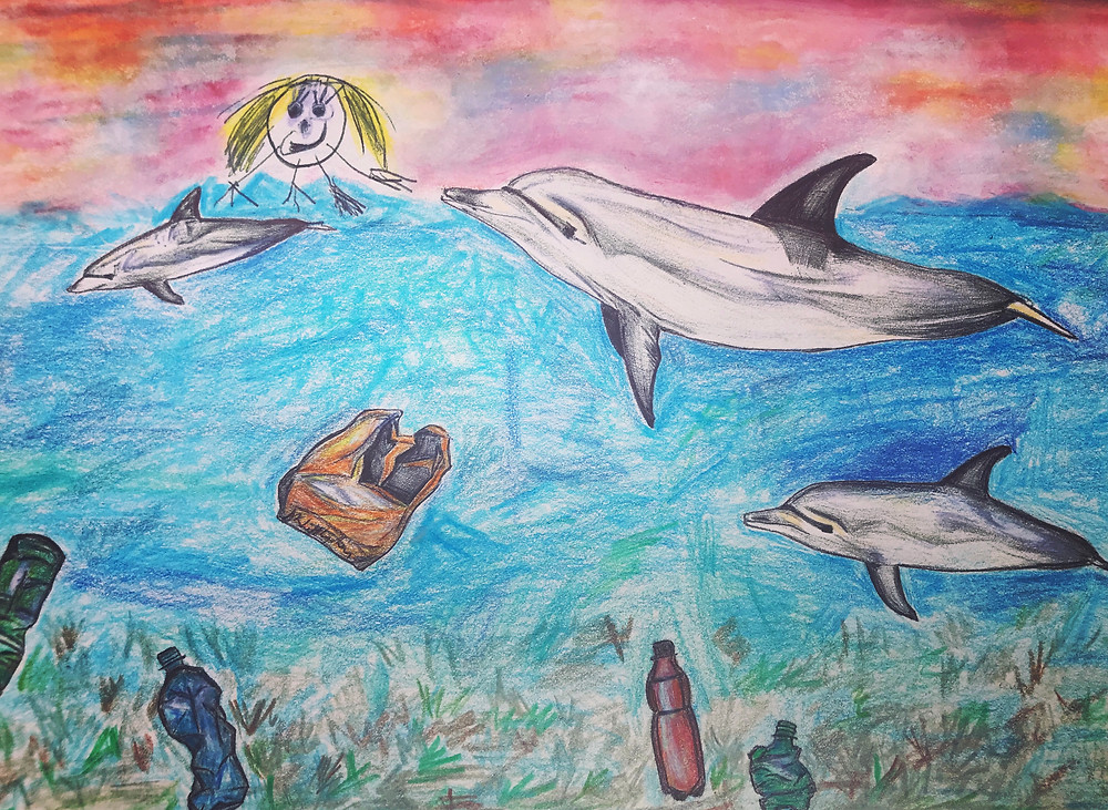 Doodle of Rose with Dolphins and plastic in the sea