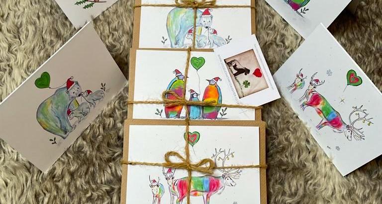NEW Festive Reindeer & Turtle Dove Christmas Cards