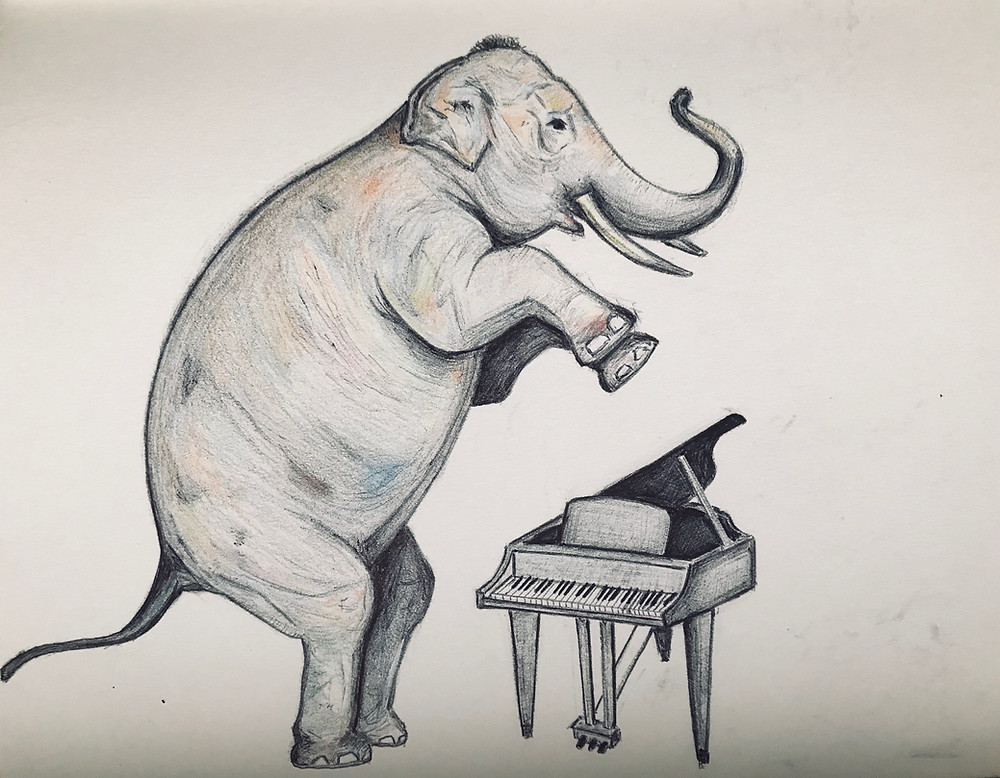 Doodle of an Elephant about to crush a piano