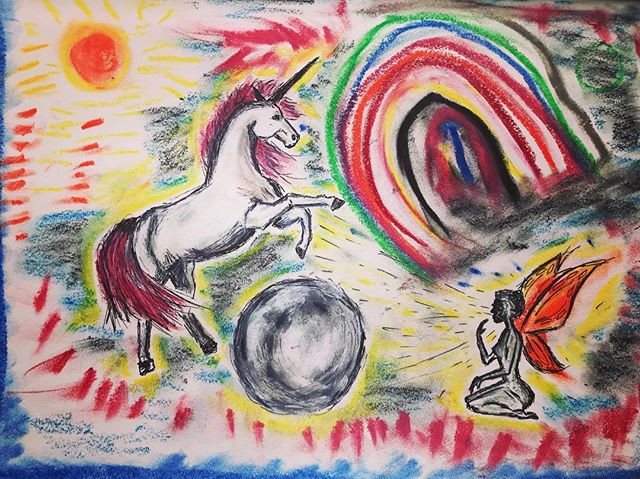 Doodle of Unicorn jumping over the moon with rainbow and fairy magic
