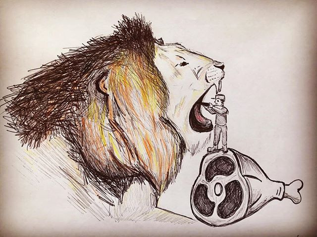 Doodle of Lion with open mouth about to eat a tiny little man