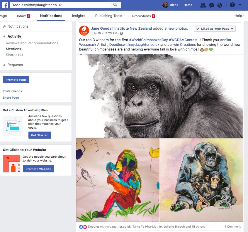 Notification on Facebook that we'd won the first World Chimpanzee Day Art Contest