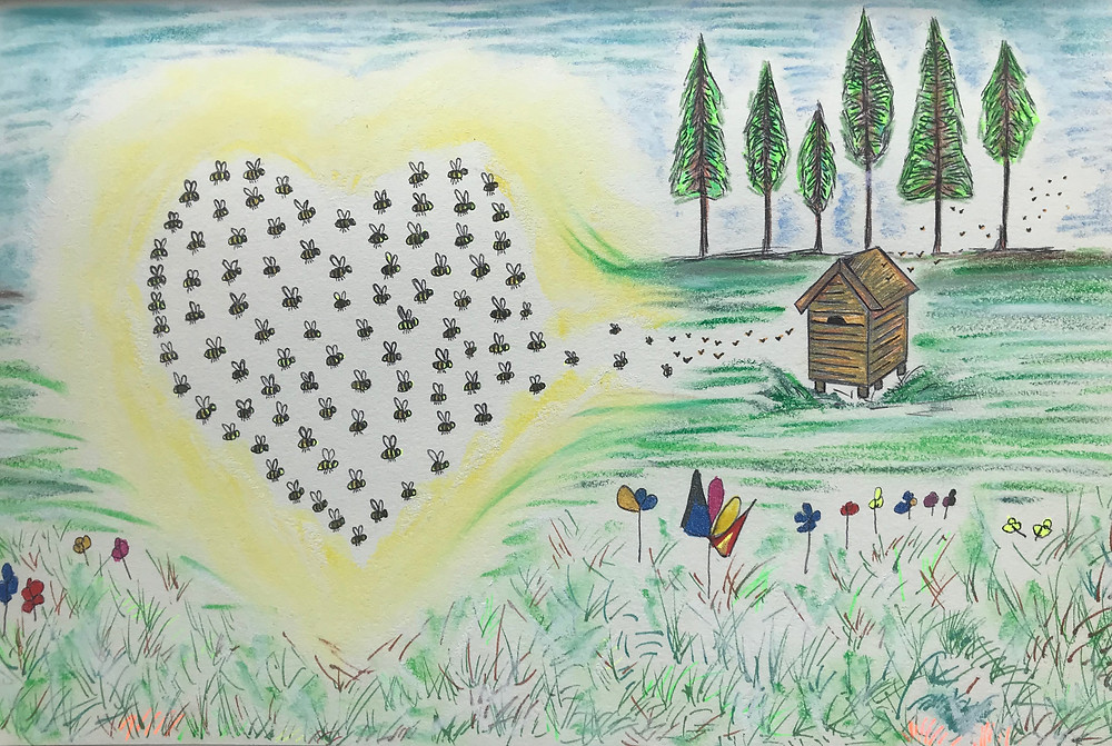 Bees in a heart shaped swarm flying towards the hive positioned just in front of a forest