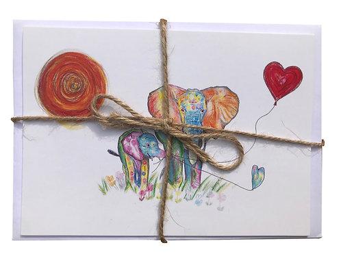 Elephant & Chimp Greeting Cards