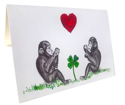 Chimp & Elephant Greeting Cards
