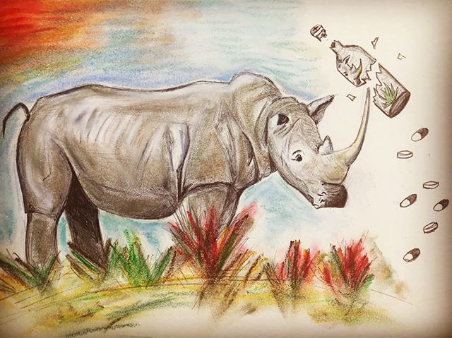 Doodle of Rhino smashing a bottle of pills containing Rhino ingredients