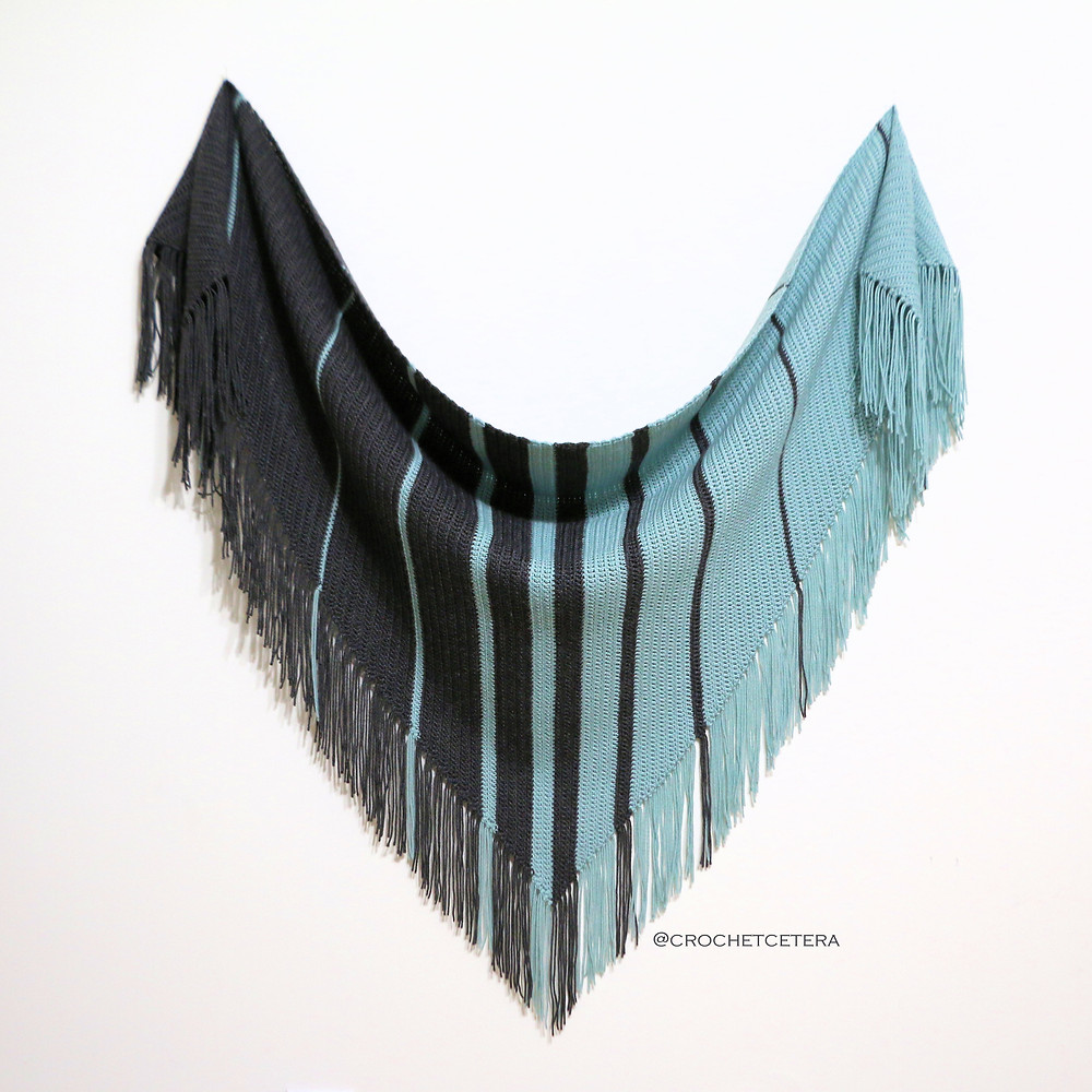 Parallel Celebrations Shawl, designed and crocheted with HiKoo Sueño by Skacel in Silver Sage and Grey Heather by Connie Lee Lynch of CrochEt Cetera by Connie Lee